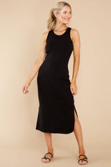 8 Creative Genius Black Midi Dress (BACKORDER JULY) at reddress.com