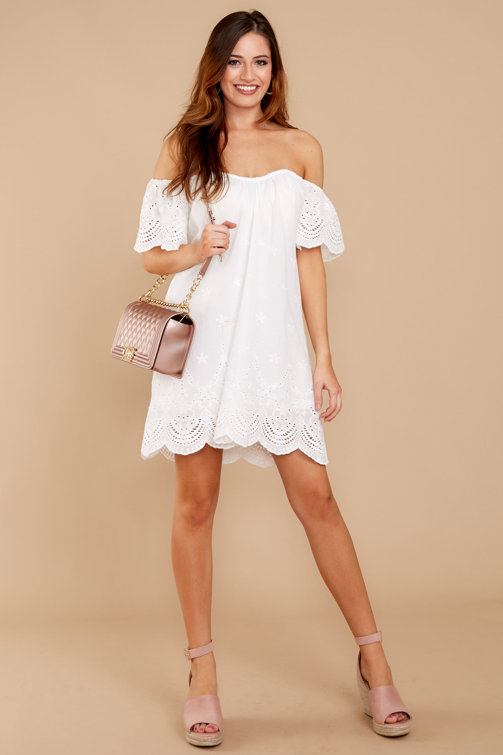 ba468c08f07d Chic Off The Shoulder Dress -Cute White Dress - Dress -  42.00 – Red ...