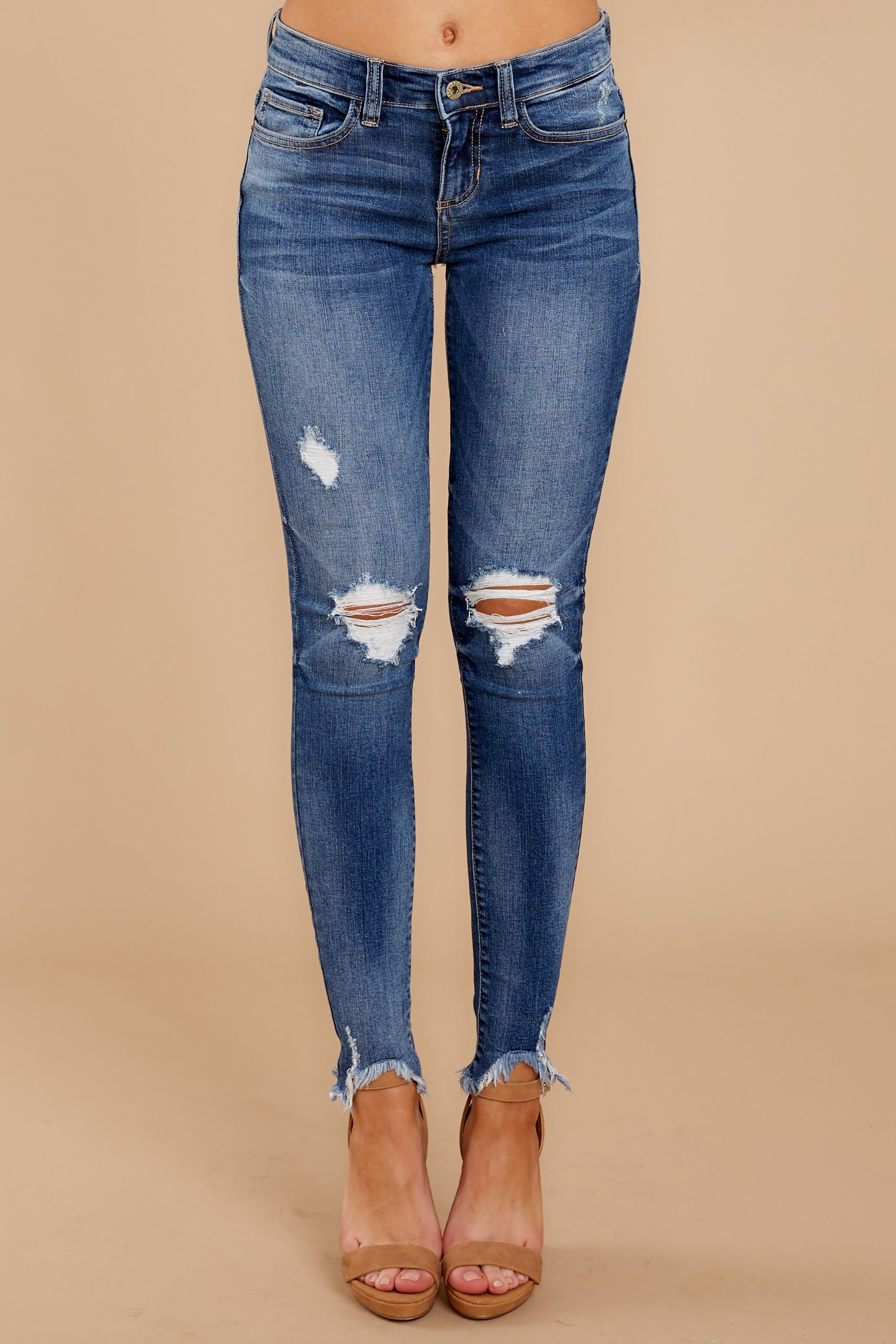 2 Not My First Time Medium Wash Distressed Skinny Jeans at reddressboutique.com
