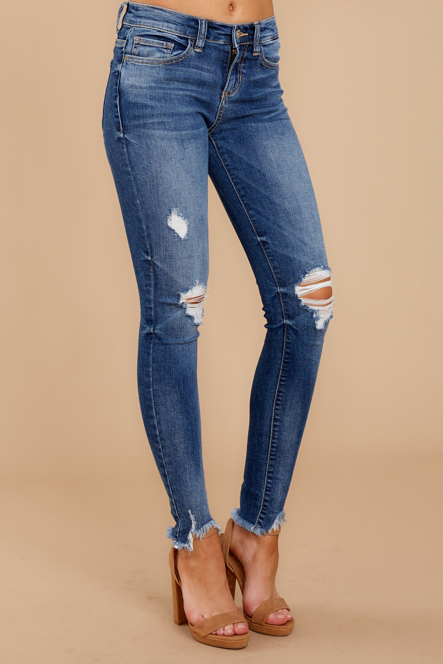 1 Not My First Time Medium Wash Distressed Skinny Jeans at reddressboutique.com