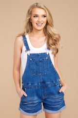 6 No One Can Deny Short Denim Overalls at reddressboutique.com