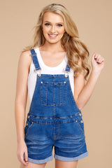 7 No One Can Deny Short Denim Overalls at reddressboutique.com