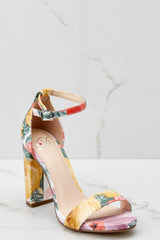 1 Never Grow Up Floral Print Ankle Strap Heels at reddressboutique.com