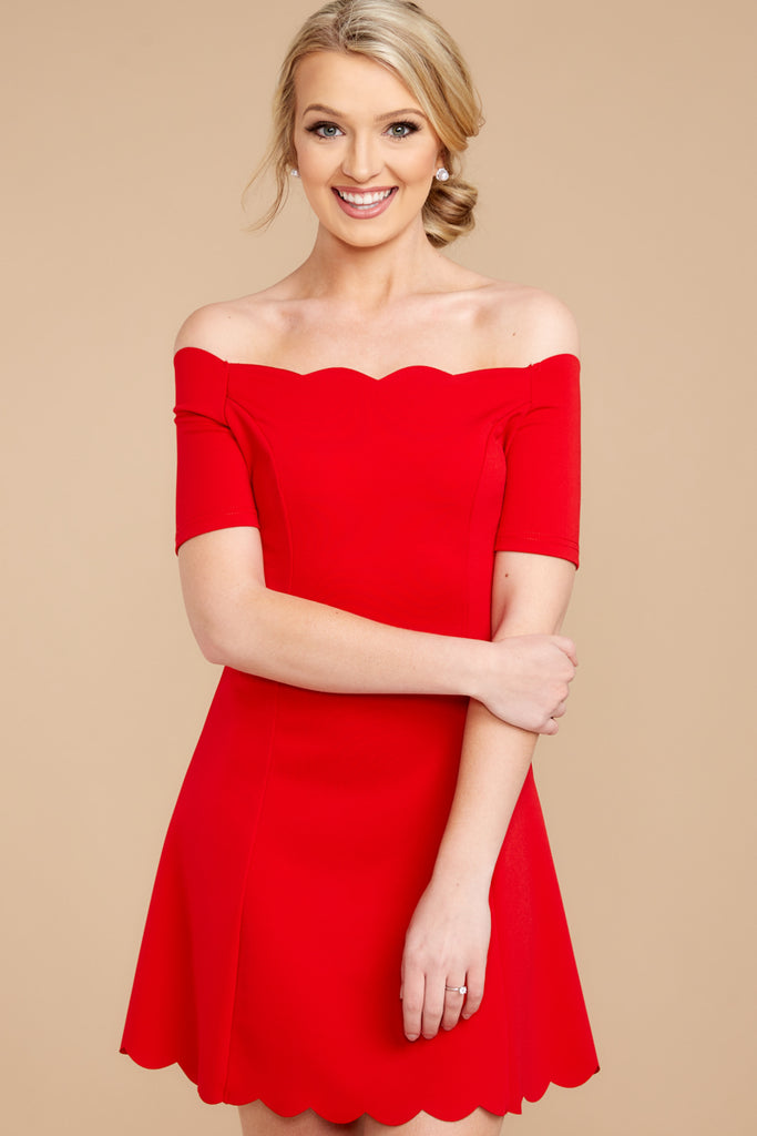 in the name of love red off the shoulder dress – red dress