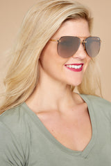 1 Playa Gold Brown Sunglasses at reddressboutique.com