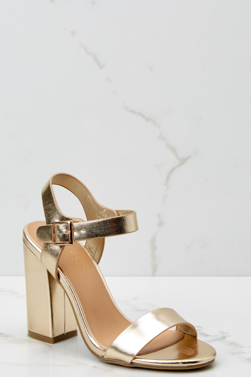 e646119155b Trendy Gold Strappy Heels - Chunky Ankle Strap Heels - Shoes ...