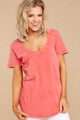 2 Z Supply Washed Pocket Tee In Fiesta Orange at reddressboutique.com