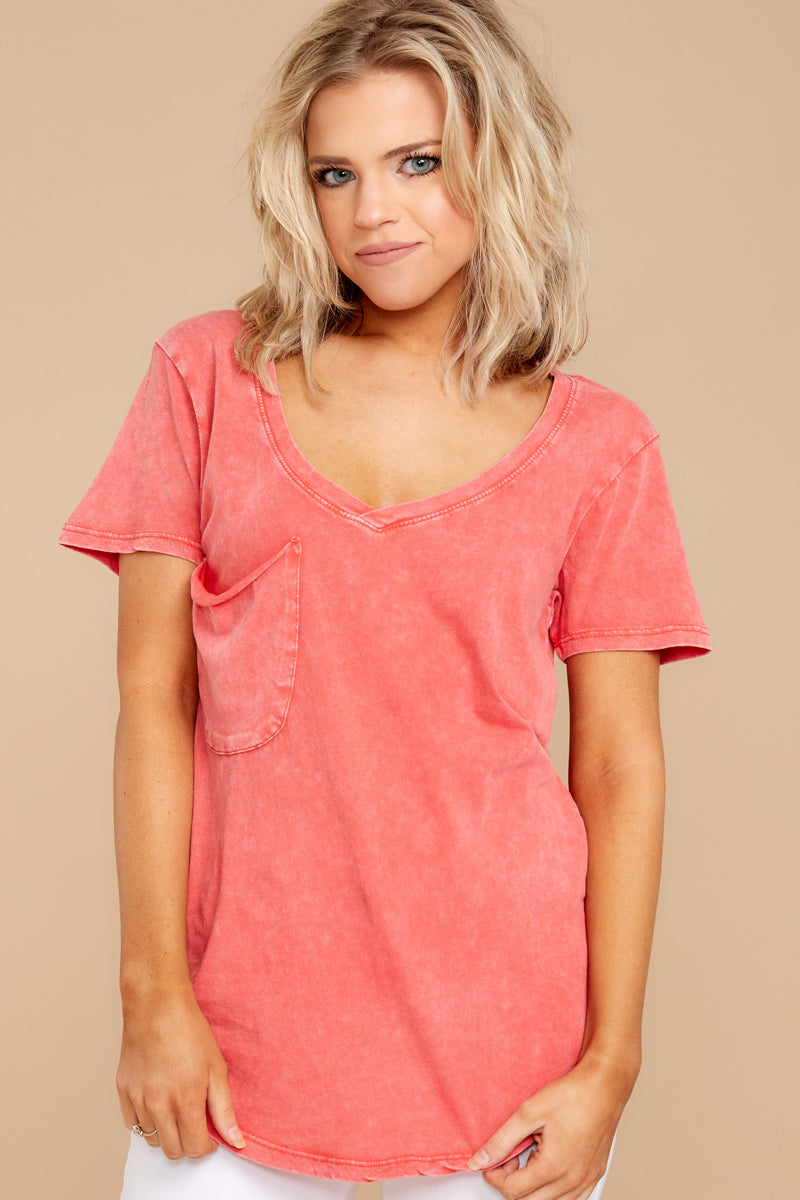 3 Z Supply Washed Pocket Tee In Fiesta Orange at reddressboutique.com