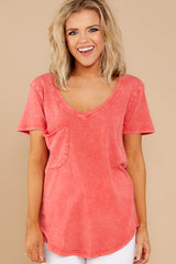 4 Z Supply Washed Pocket Tee In Fiesta Orange at reddressboutique.com