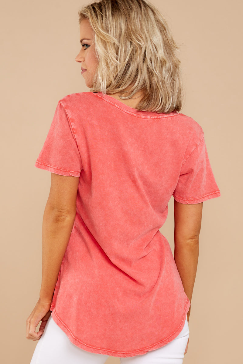 5 Z Supply Washed Pocket Tee In Fiesta Orange at reddressboutique.com