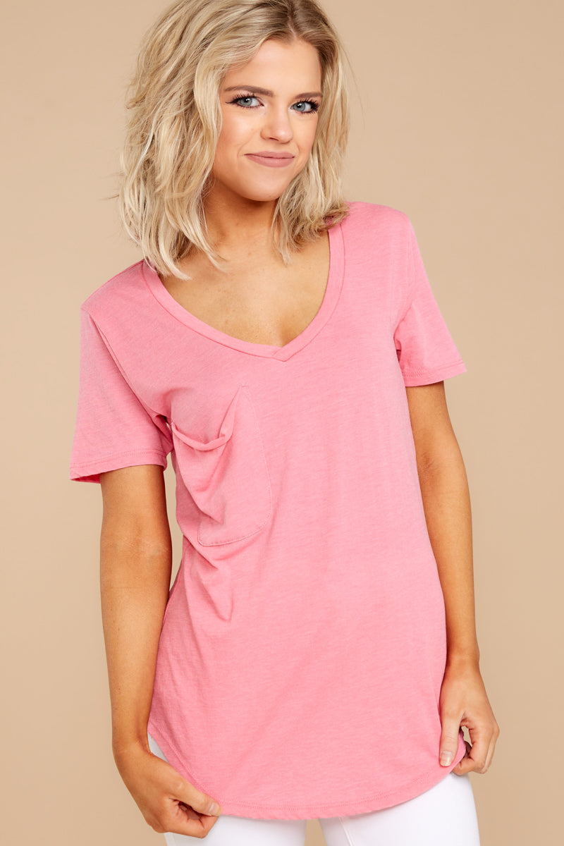6 Pocket Tee In Pink Lemonade at reddressboutique.com