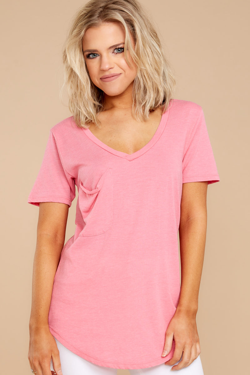 7 Pocket Tee In Pink Lemonade at reddressboutique.com