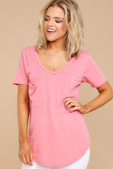 8 Pocket Tee In Pink Lemonade at reddressboutique.com