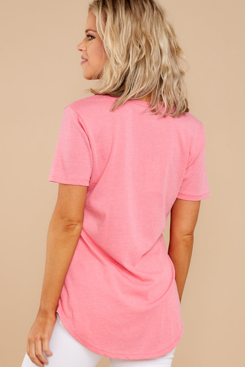 9 Pocket Tee In Pink Lemonade at reddressboutique.com