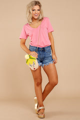 5 Pocket Tee In Pink Lemonade at reddressboutique.com