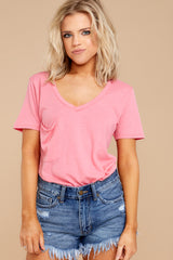 1 Pocket Tee In Pink Lemonade at reddressboutique.com
