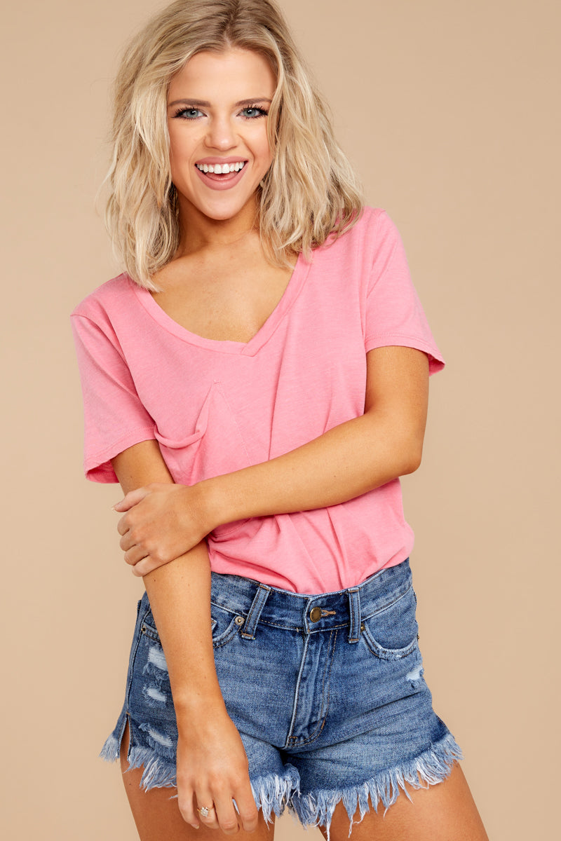 2 Pocket Tee In Pink Lemonade at reddressboutique.com