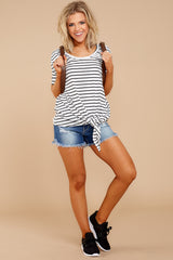 1 Your Favorite White And Black Striped Top at reddressboutique.com