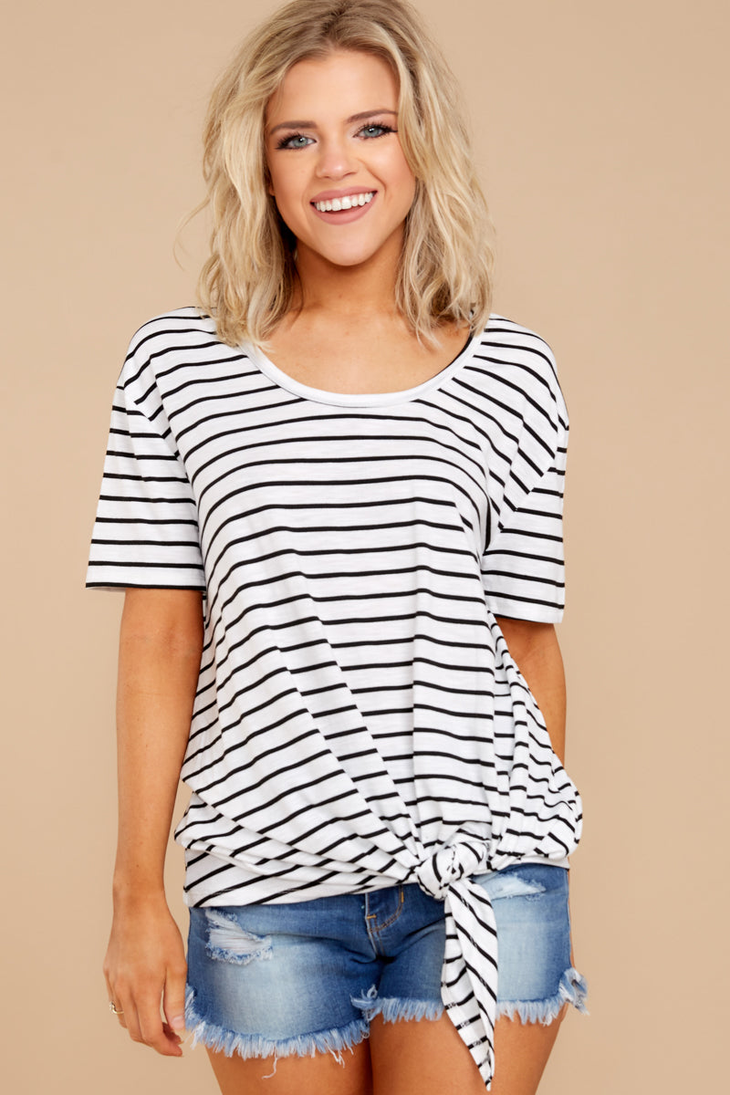 4 Your Favorite White And Black Striped Top at reddressboutique.com