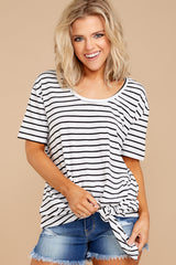 5 Your Favorite White And Black Striped Top at reddressboutique.com
