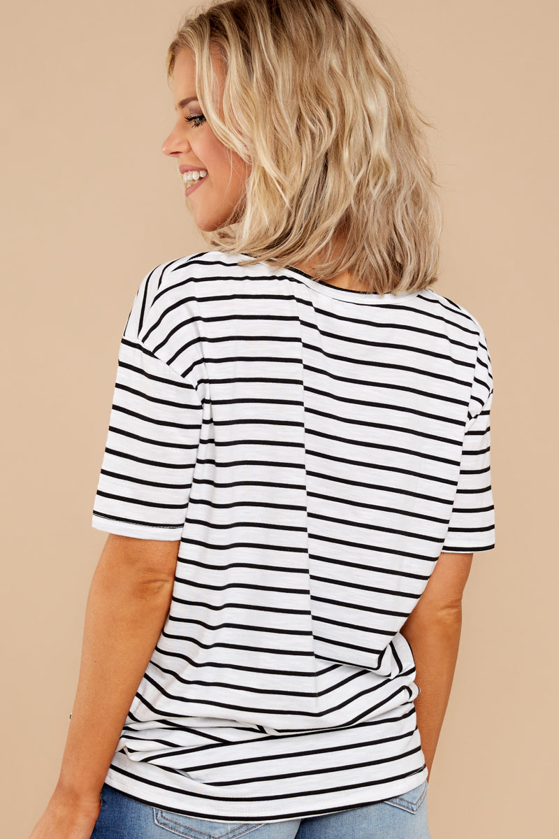 6 Your Favorite White And Black Striped Top at reddressboutique.com