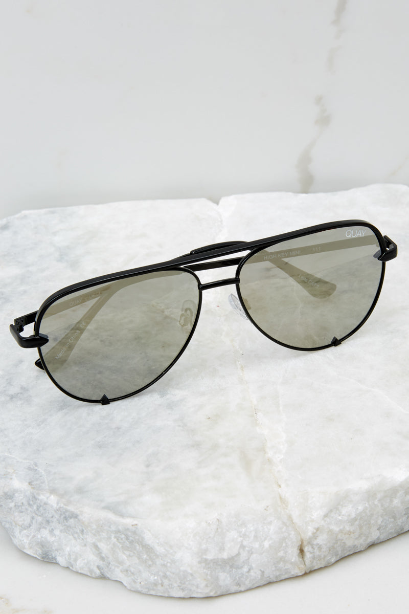 High Key Mini Black Silver Sunglasses at reddressboutique.com