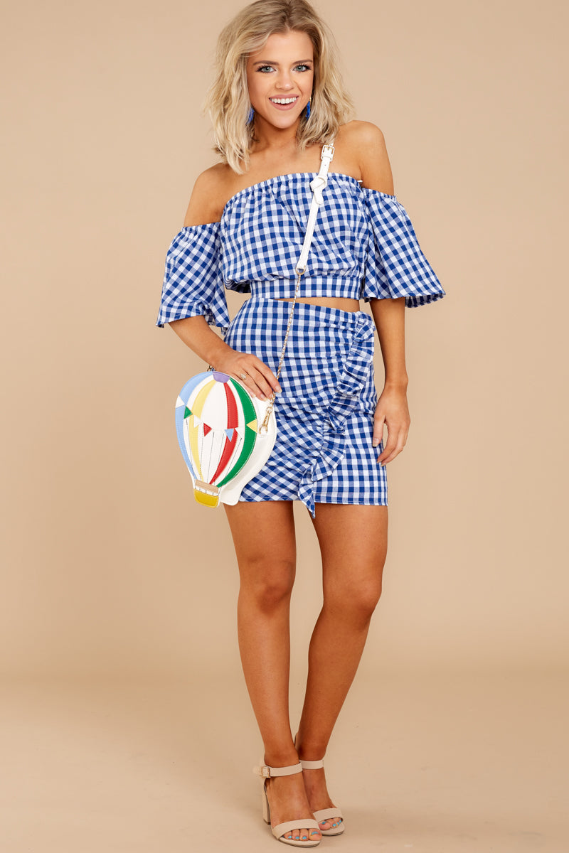 2 Casual Summer Blue Gingham Two Piece Set at reddressboutique.com