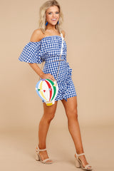 3 Casual Summer Blue Gingham Two Piece Set at reddressboutique.com