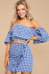 1 Casual Summer Blue Gingham Two Piece Set at reddressboutique.com