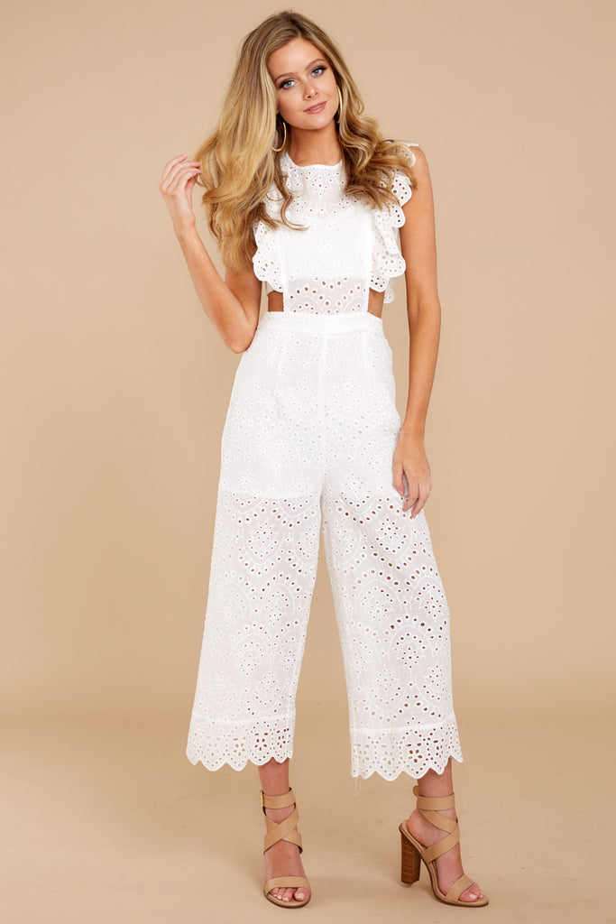 1 Chill With You White Eyelet Midi Jumpsuit at reddressboutique.com