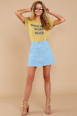 5 Barefoot Blue Jean Night Denim Button Up Skirt at reddressboutique.com