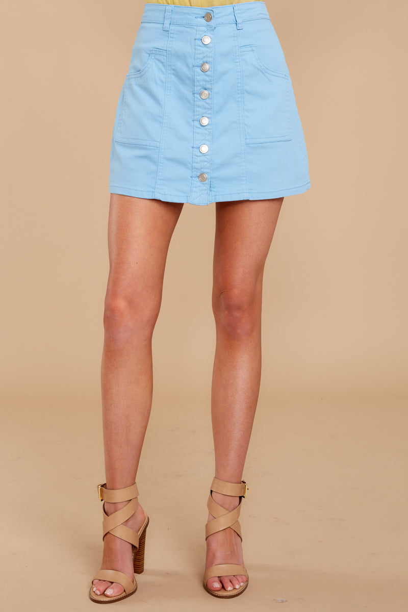 2 Barefoot Blue Jean Night Denim Button Up Skirt at reddressboutique.com