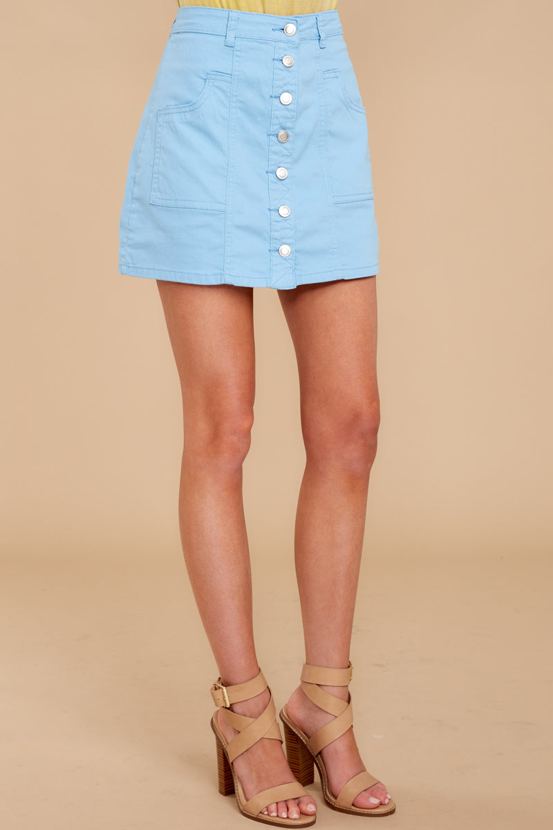 3 Barefoot Blue Jean Night Denim Button Up Skirt at reddressboutique.com