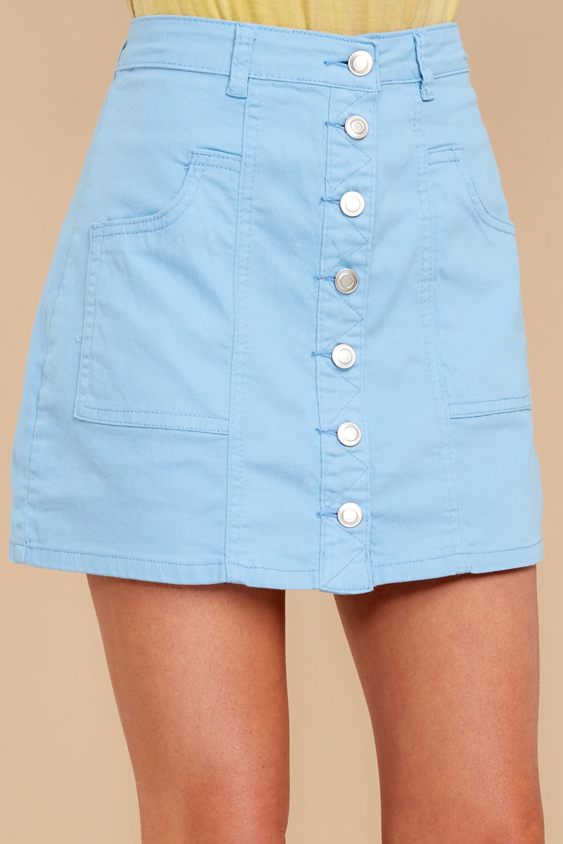 1 Barefoot Blue Jean Night Denim Button Up Skirt at reddressboutique.com