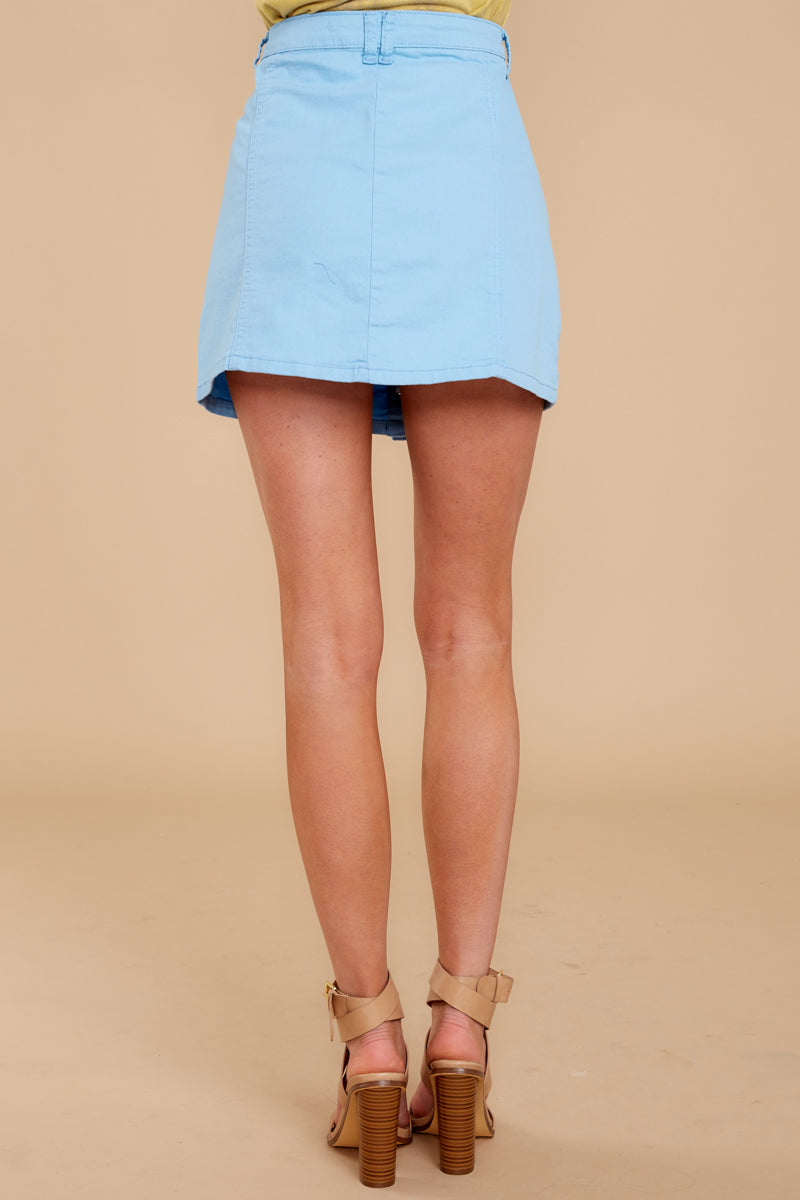 4 Barefoot Blue Jean Night Denim Button Up Skirt at reddressboutique.com