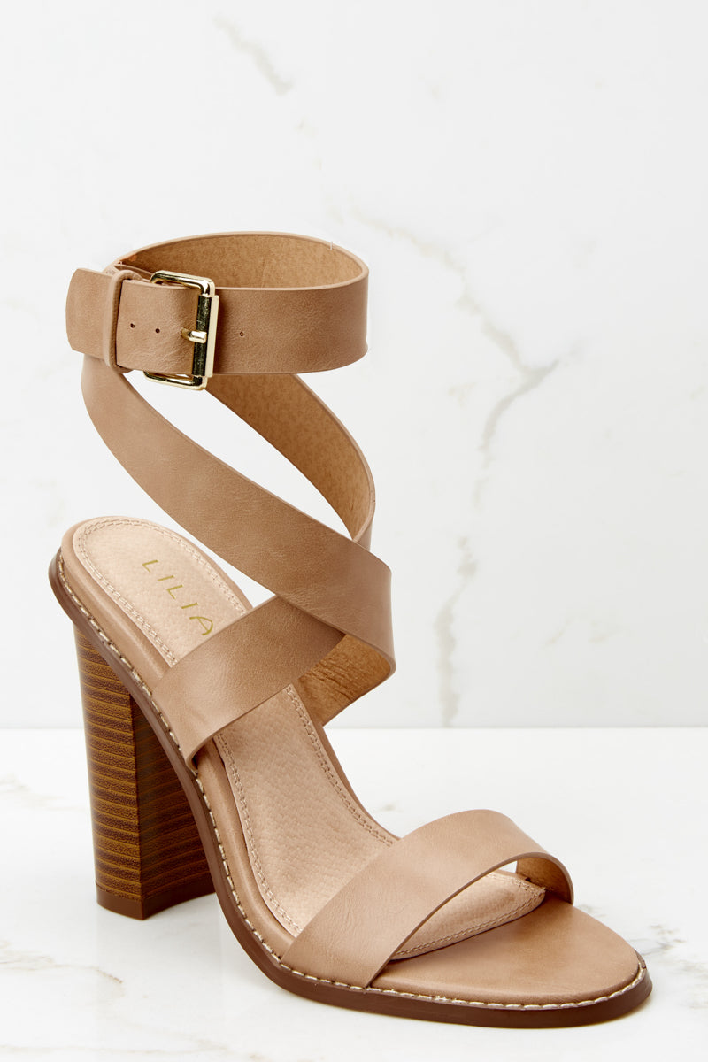 1 Making My Way Nude Ankle Strap Heels at reddressboutique.com