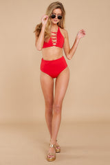 2 Catch A Wave Red Bikini Top at reddressboutique.com
