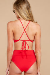 6 Catch A Wave Red Bikini Top at reddressboutique.com