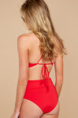 4 Catch A Wave Red Bikini Bottoms at reddressboutique.com