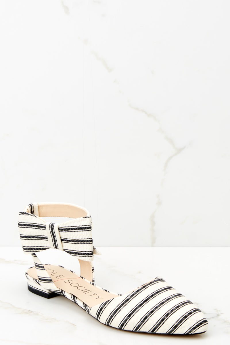 1 Pollie Ankle Strap Black Striped Bow Flat at reddressboutique.com