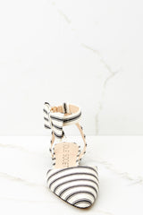 2 Pollie Ankle Strap Black Striped Bow Flat at reddressboutique.com