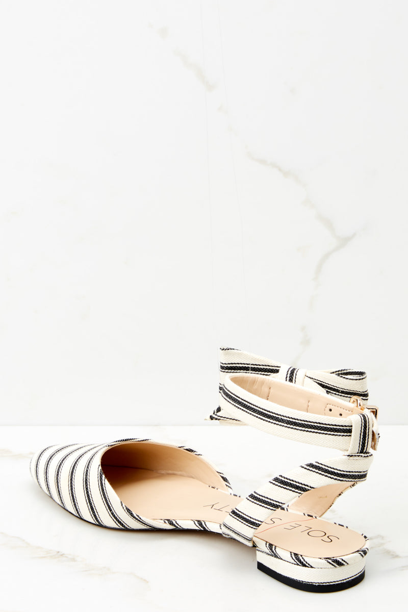 3 Pollie Ankle Strap Black Striped Bow Flat at reddressboutique.com