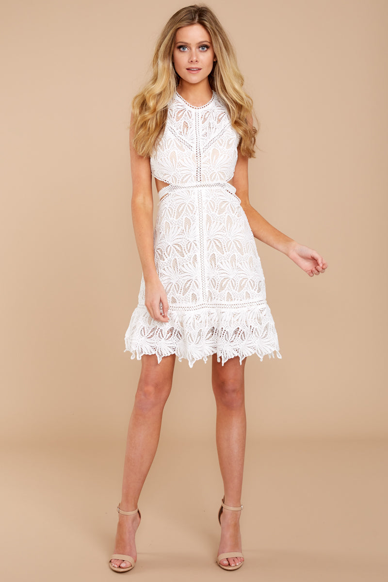 c6549e5527ec Sexy White Lace Dress - Trendy Open Back Dress - Short Dress ...