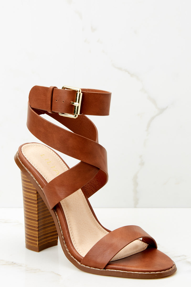 53fd4c54b7ad2 Making My Way Brown Ankle Strap Heels