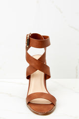 2 Making My Way Brown Ankle Strap Heels at reddressboutique.com