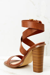 3 Making My Way Brown Ankle Strap Heels at reddressboutique.com