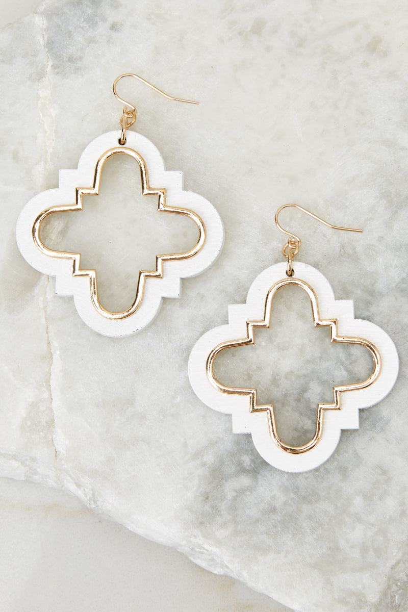 1 Committed To You White And Gold Earrings at reddressboutique.com