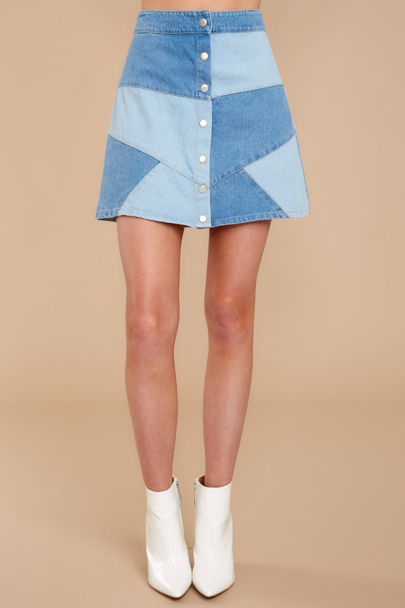 3 Here Goes Nothing Denim Skirt at reddressboutique.com