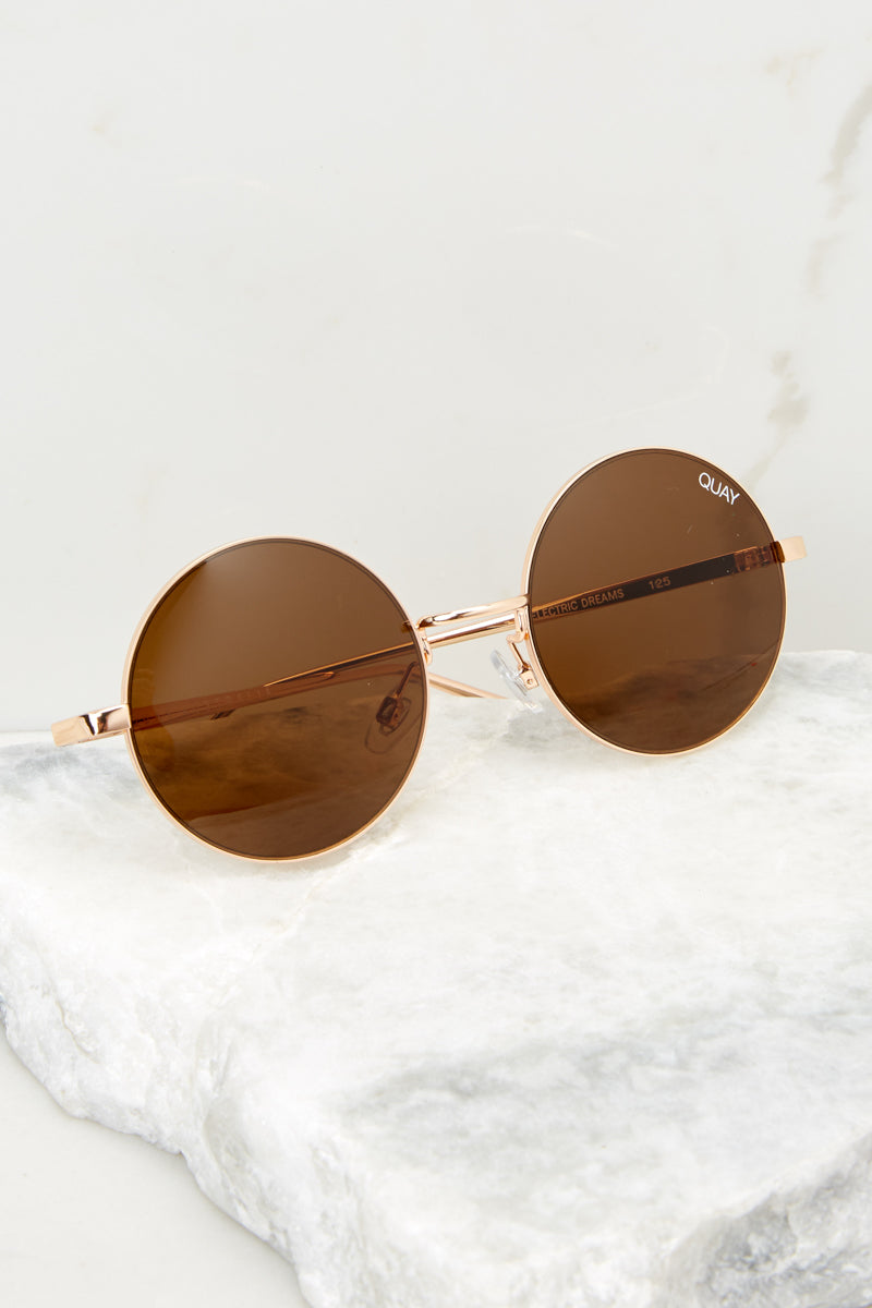 2 Electric Dreams Brown Sunglasses at reddressboutique.com