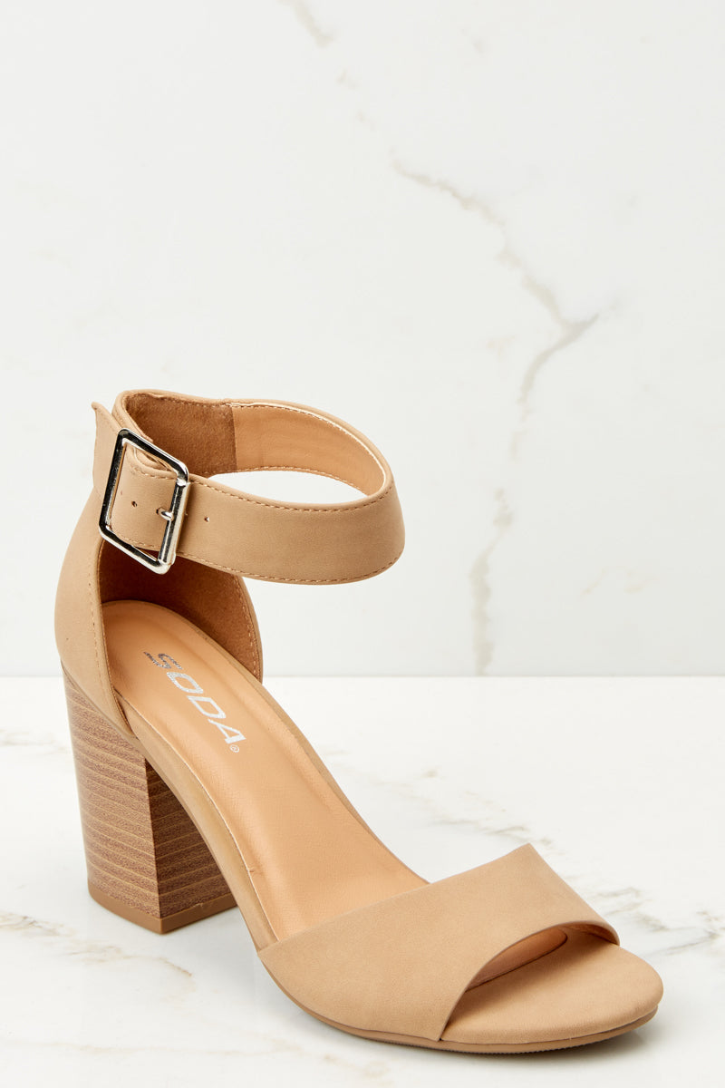 1 Make A Stand Nude Ankle Strap Heels at reddressboutique.com